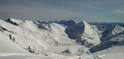 Powder skiing terrain at Lakeview in the Chatter Creek snowcat skiing tenure