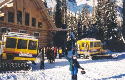 Cats loading Snowcat Skiers at Vertebrae Lodge