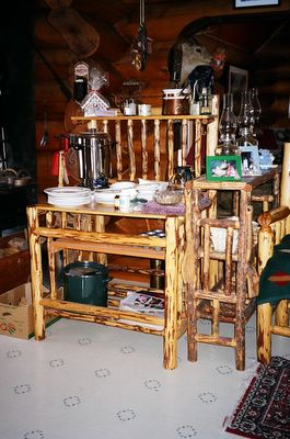 Rustic Wood Furniture and handicraft at the Kicking Horse Canyon B&B