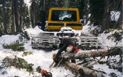 A Bombardier Snowcat picking up a load