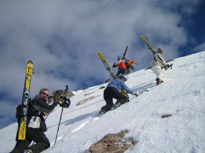 Going for it at Chatter Creek Cat Skiing