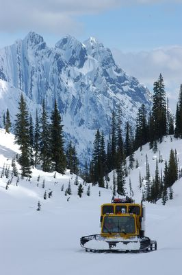 A Campolast (Bombardier) snowcat below Vertebrae Ridge at Chatter Creek SnowCat Skiing