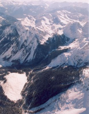 Aerial view of the Ski Terrain sout of Vertebrae Lodge