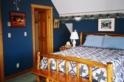 Rustic Wood Bedframe by Jerry Cook at his Golden BC Guest House