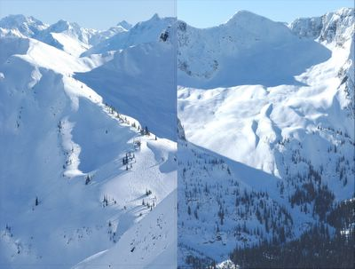 Snowcat skiing terrain at Chatter Creek