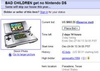 Dad Ebay's kids christmas presents: Bad Children get no Nintendo DS