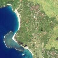 high resolution satellite image of mega tsunami after