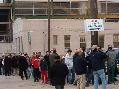The Line Stretches Down Waveland at 5 p.m. - 02/23/2005