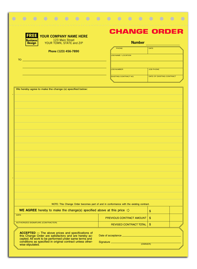 Change Order Forms Off Retail - Construction contract change order template