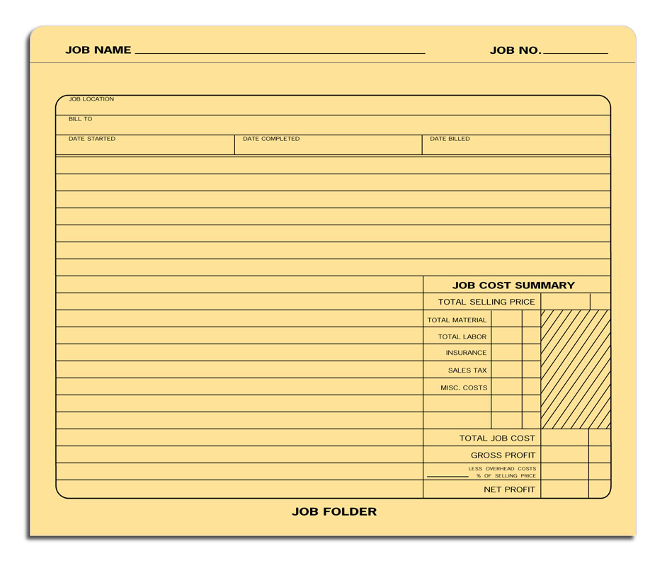 Additional Work Authorization Form Job Folders