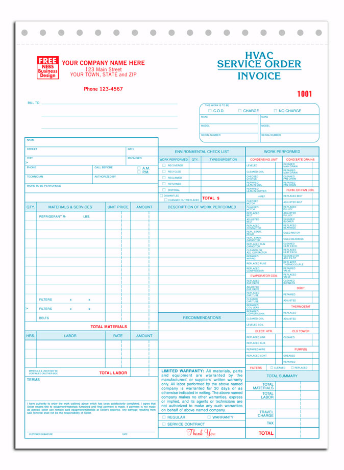Business Forms For HVAC Contractors - Hvac service order invoice template