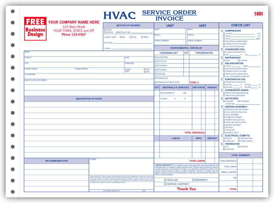business forms for hvac contractors