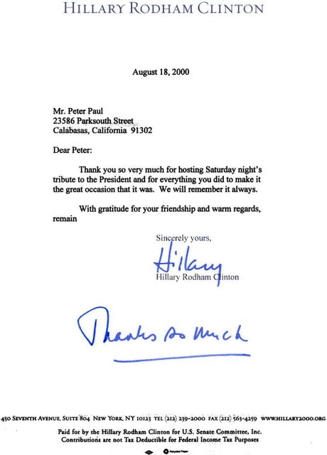 Peter paul chronicles documents august 18 2000 two days after denying to the washington post that she knew paul or that he contributed to her campaign hillary sends personal thank you expocarfo