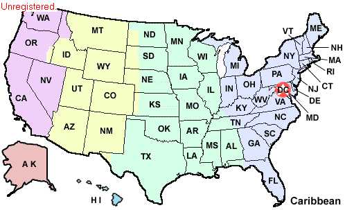 Map Of The United States Of America Showing The Four Time Zones From Left To Right The Time Zones Are Pacific In Purple Mountain In Yellow Where I Am
