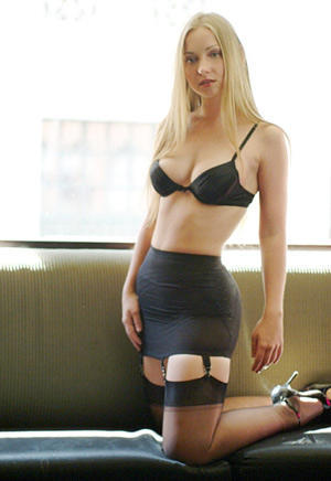blonde in open bottom girdle