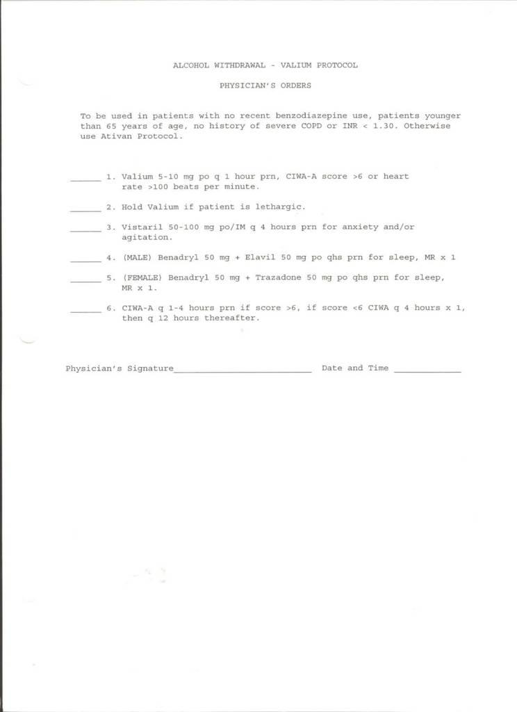valium alcohol withdrawal protocol with valium