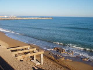 Photo of Barceloneta Beach, taken on 1 Jan 2005, blue sky and sunny