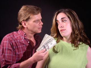 Skeeter Boxberger and Christine Ann Sullivan in 'Everything in the Garden.' Photo courtesy of Arena Players Repertory Theatre Co.