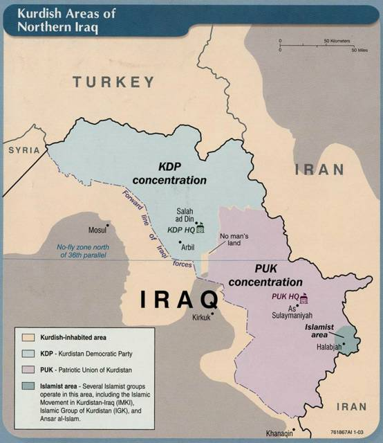 Cosmic Wheel Map of northern Iraq showing the Kurdishcontrolled area