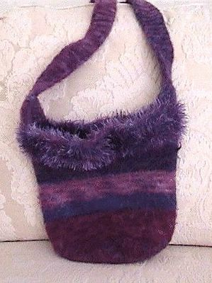 felted bag of Fisherman Wool, dyed with Wilton icing dye, and trimmed with fun fur