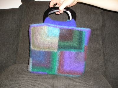 Noro Kureyon felted bag of mitered squares