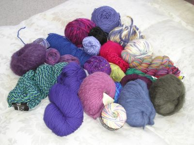 Yarn from my stash. You know you want some. No Red Heart here, baby!