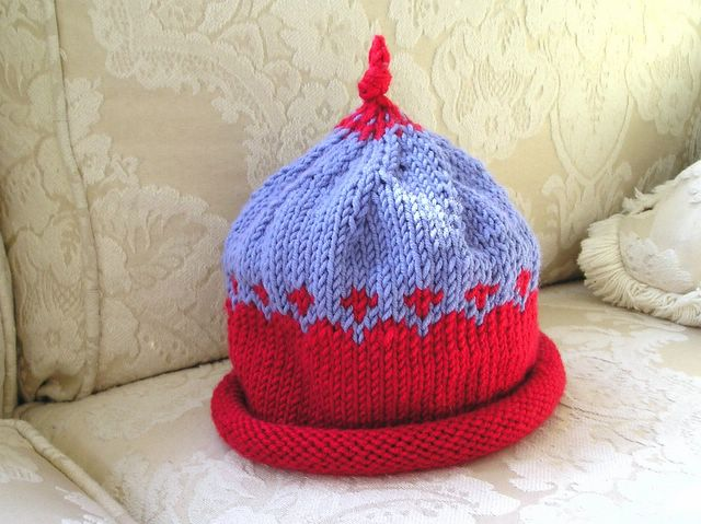Knitting Patterns For Beginners Circular Needles : freddyknits: Beginners Fair Isle Baby Hat - free pattern