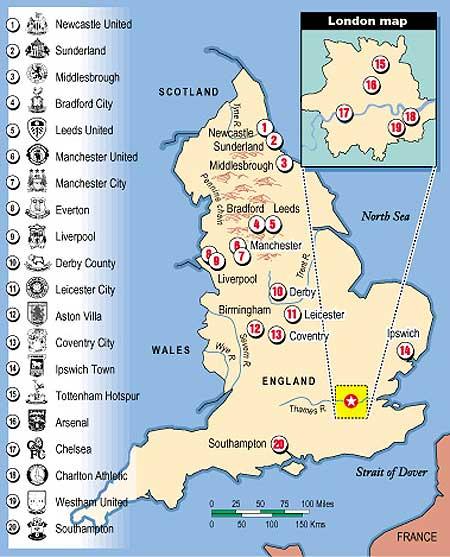 The Discriminating Omnivore English Premier League Map Circa