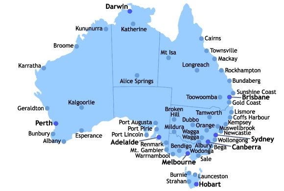 Australia Bound - Australia cities map