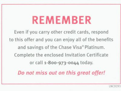 Credit card solicitation insert