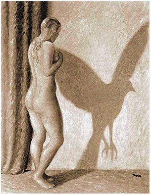 O Princípio de Incerteza - René Magritte (fonte: http://xoomer.virgilio.it/mathontheweb/immagini/magritte/il%20principio%20d'incertezza.jpg)