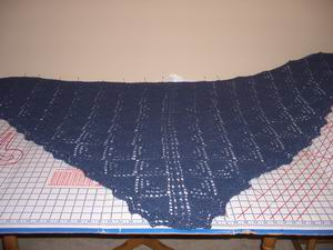 Lace Shawl in process of blocking