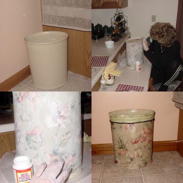 Perennial passion fabric covered wastebasket - Covered wastebasket ...