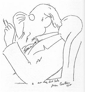 Erik Satie caricaturizado por Jean Cocteau