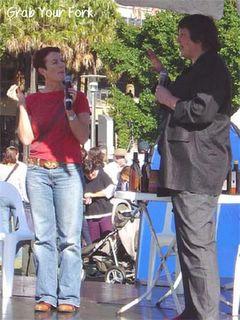Joanna Savill with a market vendor