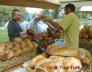 shoppers at the La Tartine organic bread stall
