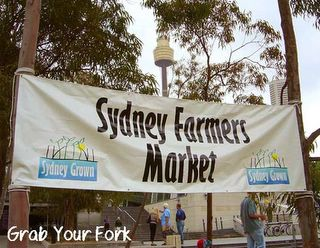 Sydney Farmers Market with Centrepoint in the background