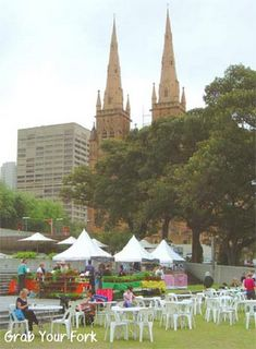 Sydney Farmers Market with St Mary's Cathedral in background
