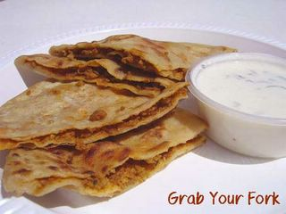 Paratha with lamb mince and raita