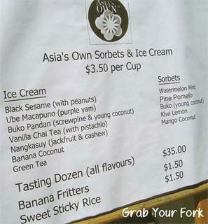 Asia's Own ice cream flavours