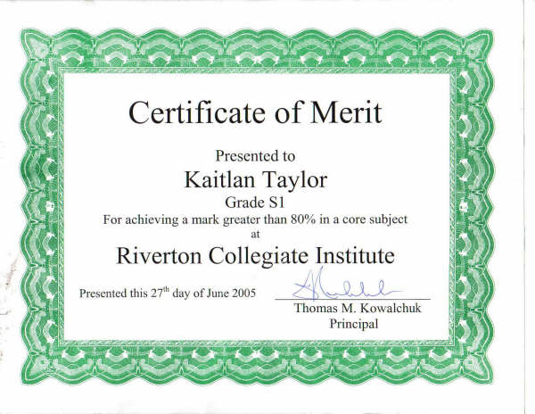 Academic Certificate Of Merit  Merit Certificate Comments