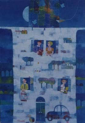 quadro di Marco Sudati intitolato Messaggi vicini e lontani