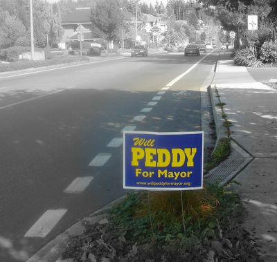 Discredited peddy poster outside the library