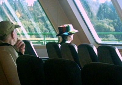 colored hat on ferry