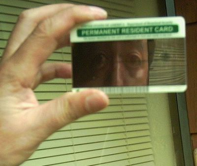 mirrored green card