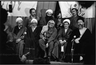 RAN. Tehran. February 1979. Yasser ARAFAT, leader of the PLO, seated among the highest religious dignitaries of the newly victorious revolution
