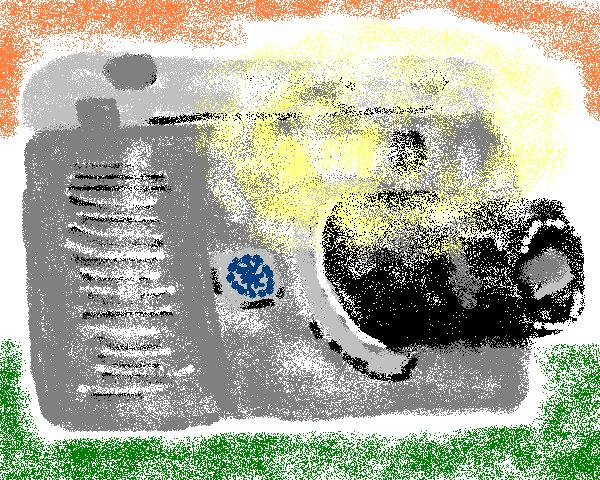 digital camera superimposed over national flag of India