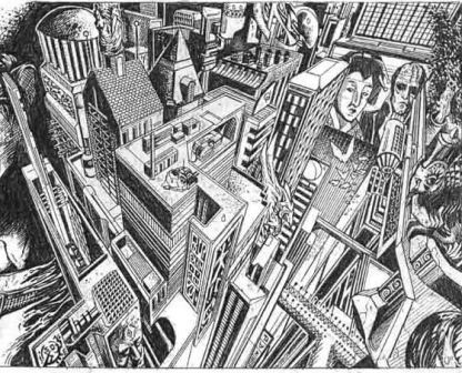 Cityscape Pencil Drawing Pencil Drawing 1998