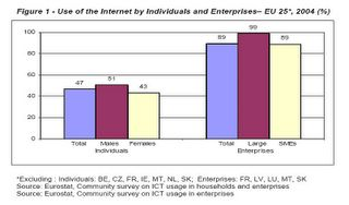 Eurostat report on European internet usage by individuals and enterprises 2004
