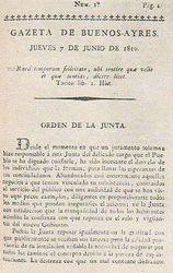 Portada del primer ejemplar de la Gazeta de Buenos Ayres de 1810